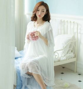 New-Design-Lace-Ladies-Underwear-Sleepwear-Long-Sleeve-Nightdress-Long-Nightwear