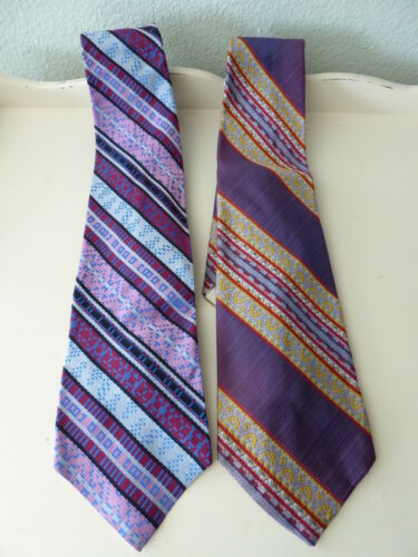 2 Vintage 1970's Wide COURTLY Necktie Colorful  Me