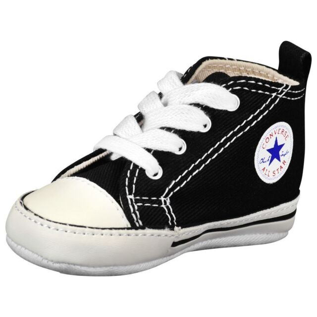 CONVERSE NEWBORN CRIB BOOTIES BLACK 8J231 FIRST ALL STAR BABY SHOES SIZE-1-4 6d67b23d4