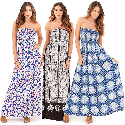 Pistachio Womens Bandeau Patterned Sun Dress New Ladies Strapless Summer Maxi