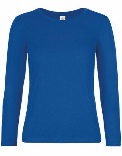 Damen langarm T-Shirt  Longsleeve Shirt Baumwolle Hochwertiges Uni Rundhals