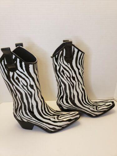Corkys Black and White Zebra Rubber Cowboy Rain Bo