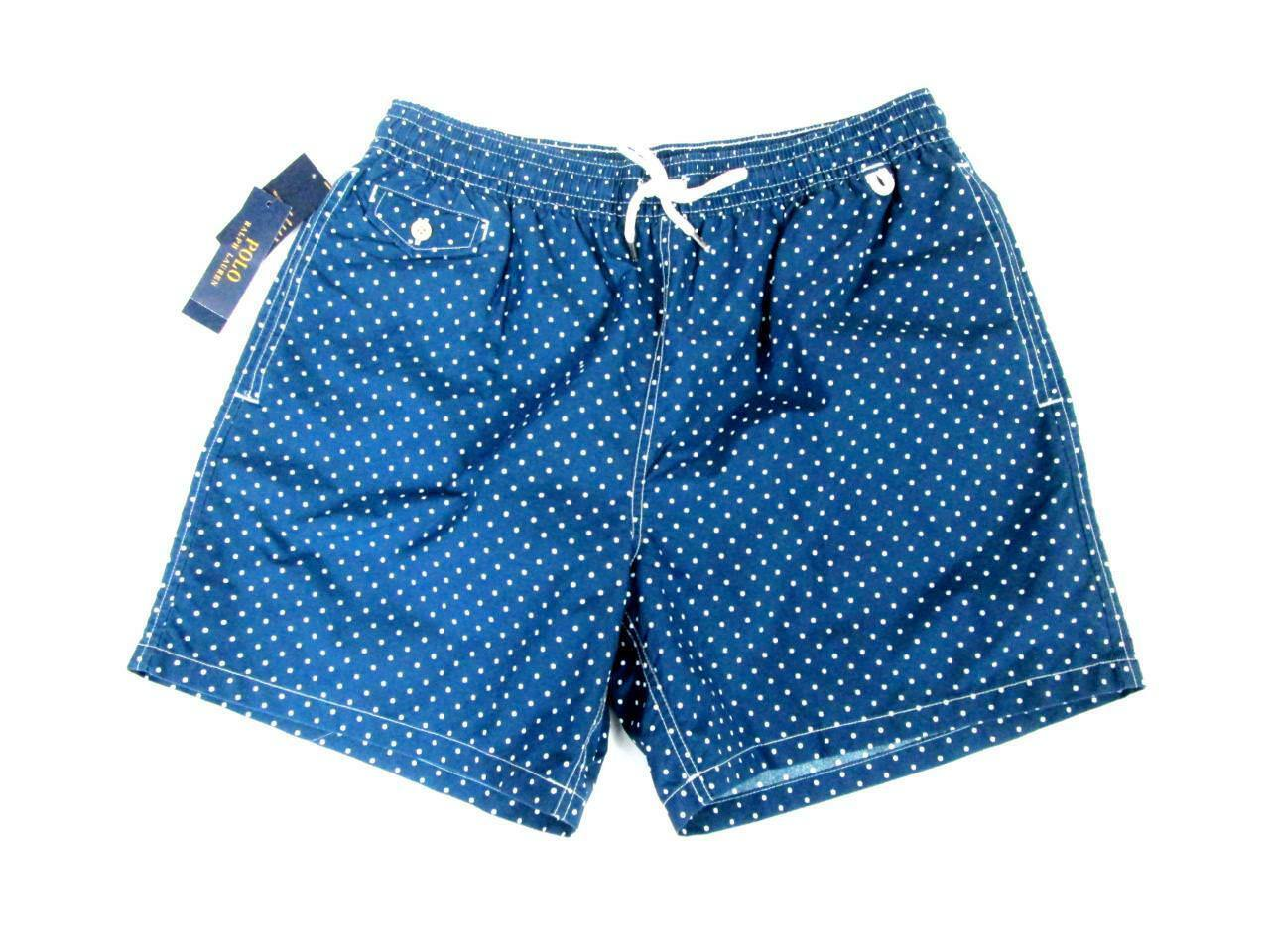 POLO RALPH LAUREN MENS blueE WHITE POLKA DOT SUMMER BEACH SHORTS SWIM TRUNKS XL