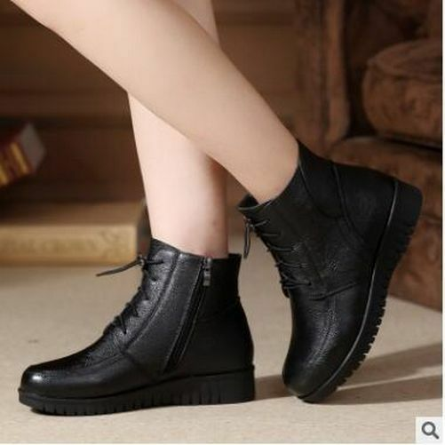 Wouomo Winter scarpe Genuine Leather Leather Leather Flat Ankle Lace-Up Warm Wool Snow stivali 0198d1