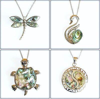Natural Paua Shell Charm Pendant Necklace Abalone Dragonfly Swan Yin Yang Cross