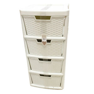 Image Is Loading Simply Rattan 4 Drawers Tower Cabinet Bookstand Cream