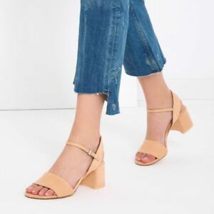 Nwt Zara Faux Suede Block High Heel Sandals With Ankle