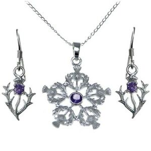 Argent Sterling Améthyste Chardons Pendentif & Boucles D'oreilles Activating Blood Circulation And Strengthening Sinews And Bones Fine Jewelry Jewelry & Watches