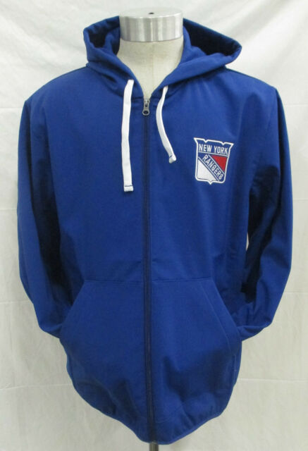 New York Rangers Men's L Full Zip Hooded Jacket Embroidered Softshell NHL