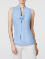 Michael Kors Tie-neck Sleeveless Blouse Top Shore Blue