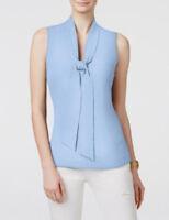 Michael Kors Tie-neck Sleeveless Blouse Top Shore Blue