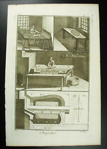 Mad-Hatter-Occupation-Antique-18th-1767-Diderot-amp-D-039-Alembert-Booklet-Full-3-Plan