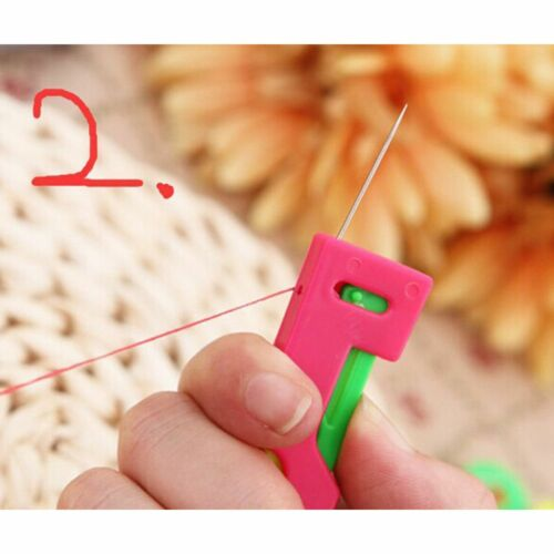 2pcs Chic Elderly Use Automatic Easy Sewing Needle Device Threader Thread Guide