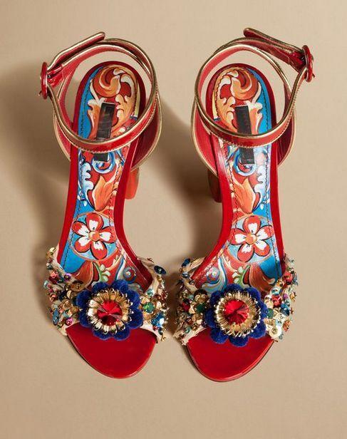 Womens Open Toe High Block Heels Ethnic Floral Rhinestone Sandals Retro shoes SZ