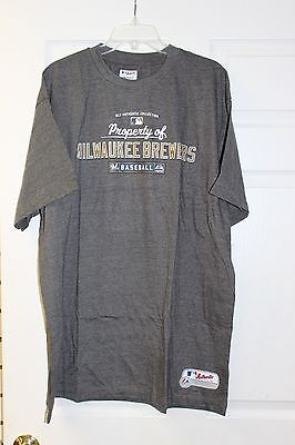 Milwaukee Brewers Authentic Majestic T-Shirt Navy With White Medium Size Letters