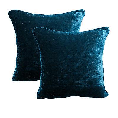 100% Cotton Velvet Pillow Covers Shams Set of 2 Home Decor Cushion - Teal