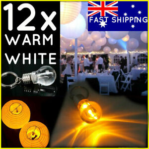 12 pcs of Battery Operated LED Bulbs Keyring light Paper Lanterns Wedding 2700K