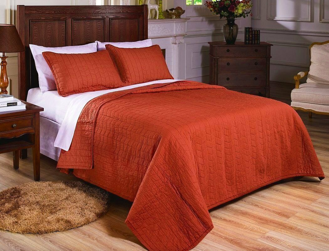 Fancy Linen 3pc King and Queen Quilted Bedspread Embroidery Rust Pre-Washed New