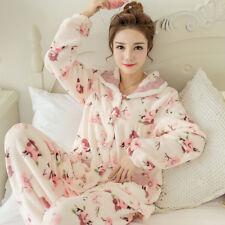 Hot Women s Flannel Winter Warm Sleepwear Home Wear Pajama Set Cute Coat +  Pants ef66c26b9