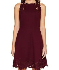 Ted-Baker-Burgundy-Embroidered-Sleeveless-Party-Skater-Dress-TB-2-10