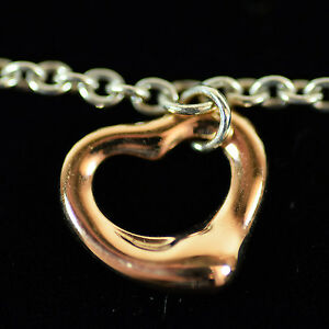 4f047653d Tiffany & Co Elsa Peretti 18K Rose Gold Heart Pendant & Sterling ...