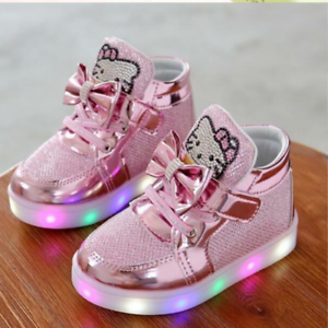 Chaussures Fille Lumières Hello Kitty LED Bébé Fille Baby Chaussures Lights