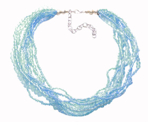 Zx216 Ocean Inspired Clear Blue Beads Crystal//multi Strand Adjustable Necklace