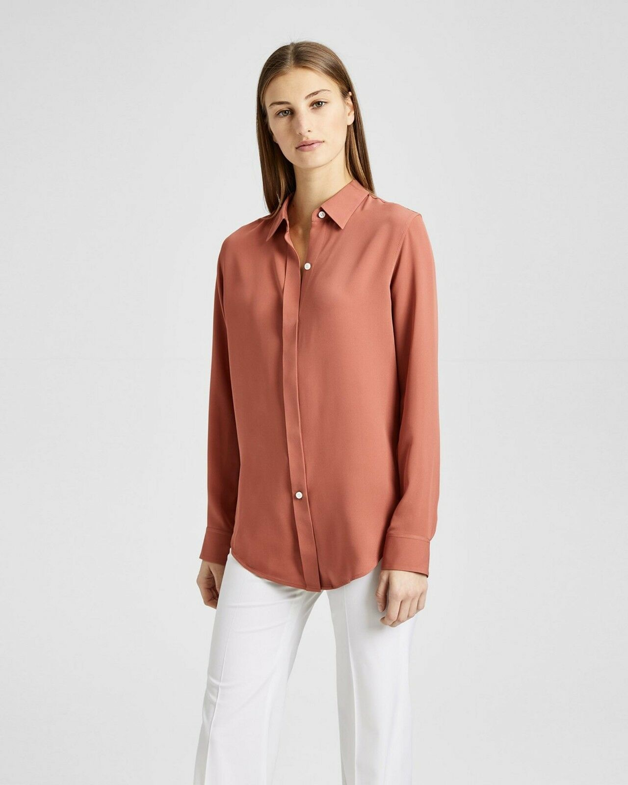 NWT Theory Essential Button Down Silk Shirt Blouse Rosa Russet Sz P(XS),S
