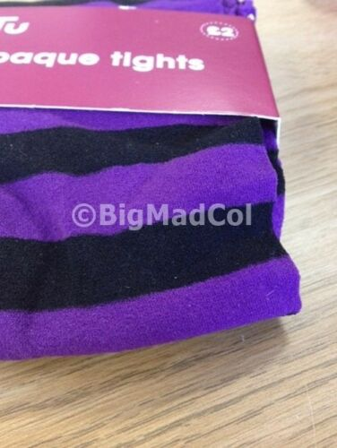H15 Girls Opaque Tights Purple Stripe Fancy Dress Costume Halloween 6 Months
