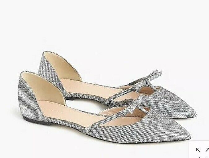 J Crew. Sloan Glitter Shimmer Bow Pointed D'Orsay Silver Party Flats Size 6