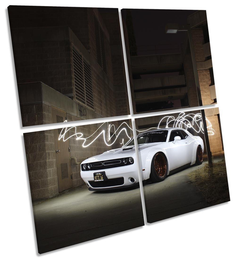 Dodge desafío blanco múltiples coche Enmarcado Impresión de lona múltiples blanco Arte Cuadrado b40830