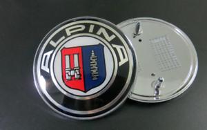 ALPINA-82mm-82mm-45mm-Vorne-und-Hinten-Emblem-3er-5er-7er-Motorhaube-Kofferraum