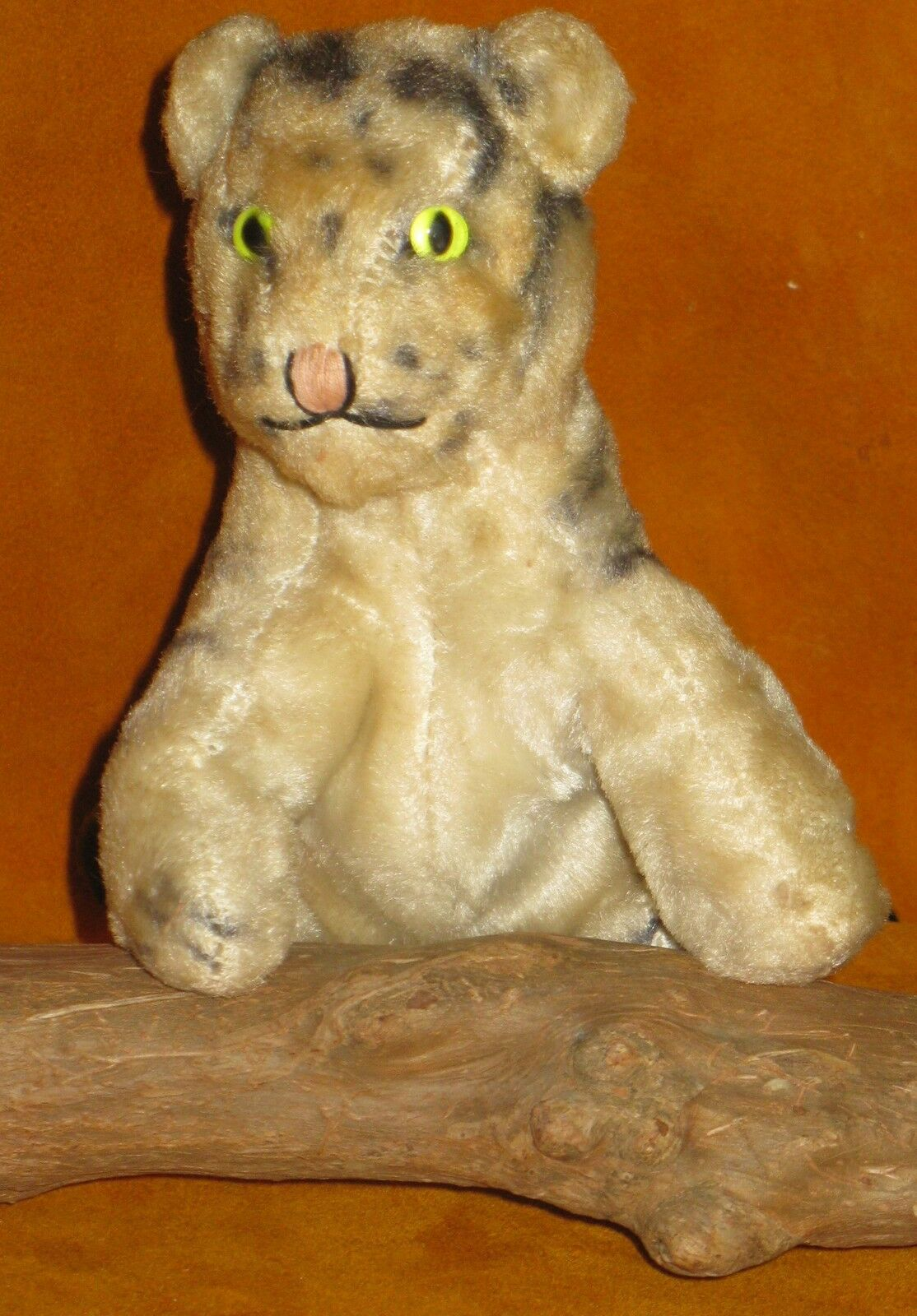 VINTAGE UNMARKED STEIFF TOY TIGER CUB SEATED MOHAIR STRAIGHT TAIL Grün EYES