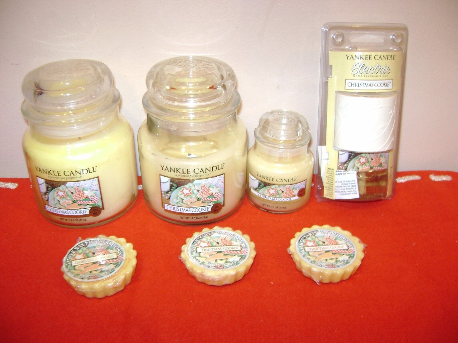 YANKEE CANDLE CHRISTMAS COOKIE (2) 14.5 oz + (1) 3.7 oz Jar, 3 Tarts & Electric