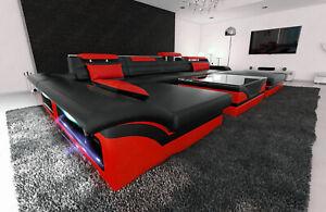 Luxussofa Wohnlandschaft Monza U Form Designer Couch Schwarz Rot Mit