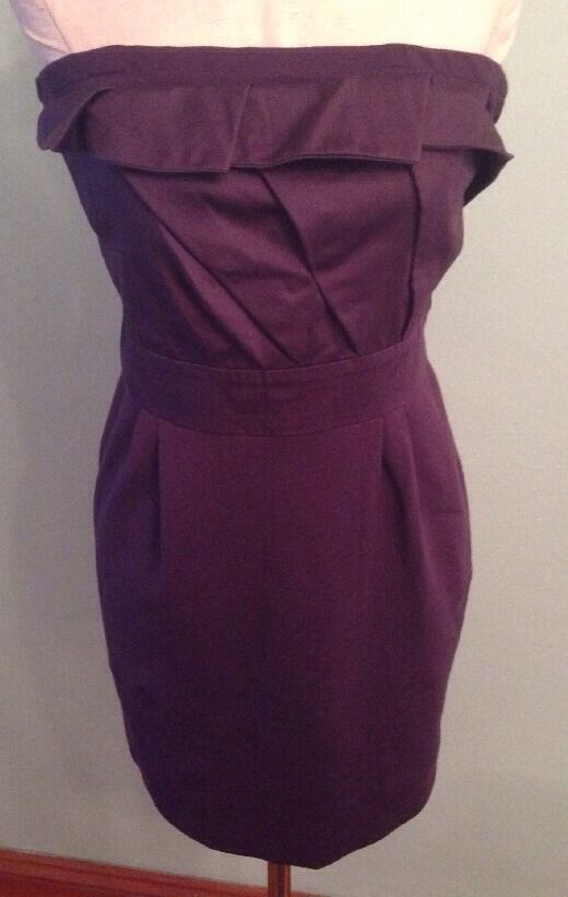 S Purple Deletta stretch strapless dress by Anthropologie