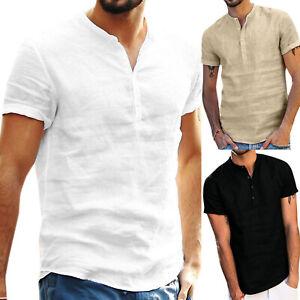 Men-039-s-Grandad-Collar-Plain-Shirts-Loose-Fit-Short-Sleeve-Beach-Holiday-Tee-Tops