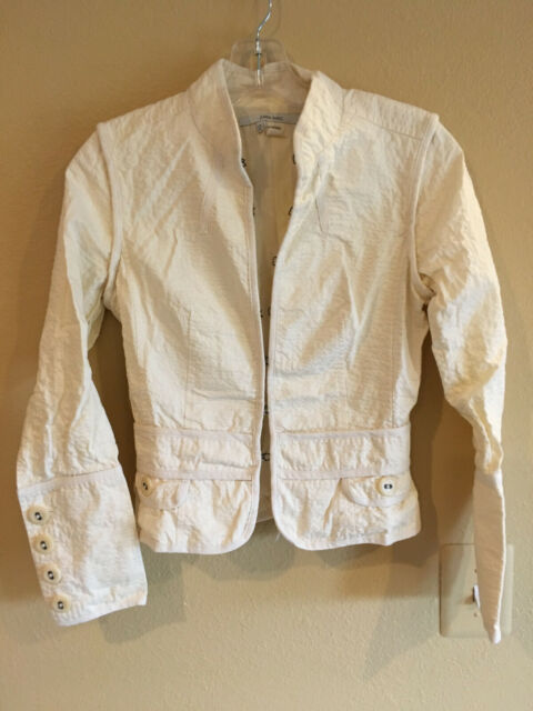 ZARA BASIC S Gorgeous Artsy Boho Ivory White Blazer Jacket Detailed Cream XS