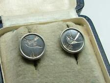 Pair of Antique Victorian Aesthetic Silver Engraved Bird Motif Earrings