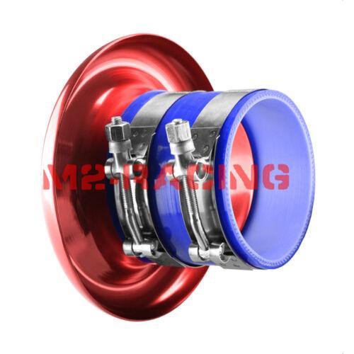 "4/"" Purple Short Ram Air Intake Turbo Horn Aluminum Velocity Stack Silicone Hose"