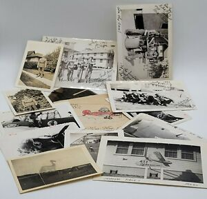 WWII-US-Photo-Lot-of-12-Airplanes-Nose-Art-B25-Gliders-Plus-Negatives