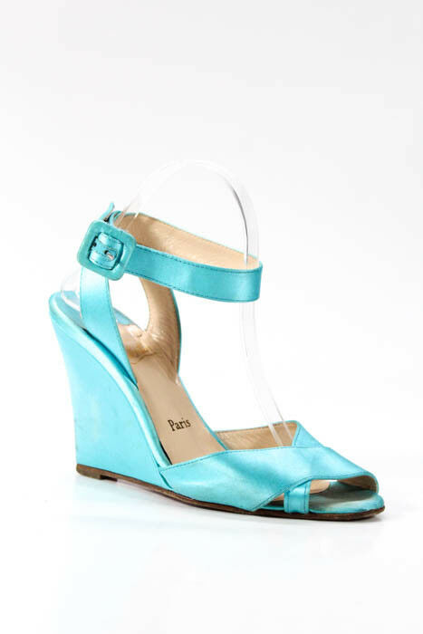 CHRISTIAN LOUBOUTIN - Turquoise bluee Satin Ankle Strap Wedge Heel Sandals 8.5 39