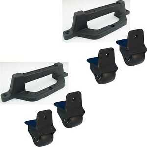 4x 50mm Kanten-Aufbau-<wbr/>Rolle + 2x Kombi-Griff-Fu<wbr/>ß Koffer-Bock-Tr<wbr/>ansport-Rolle