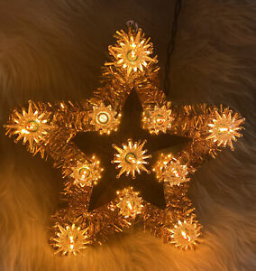 Vintage-Christmas-Tree-Star-Gold-Light-Up-Tinsel-Topper-WORKS-Perfectly