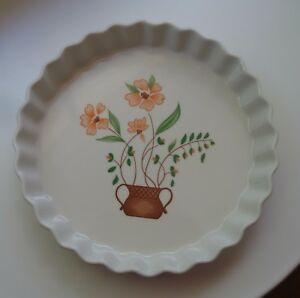 Vintage-Countryside-Stoneware-Collection-Oven-Pie-Tart-Quiche-Flan-Dish-Japan