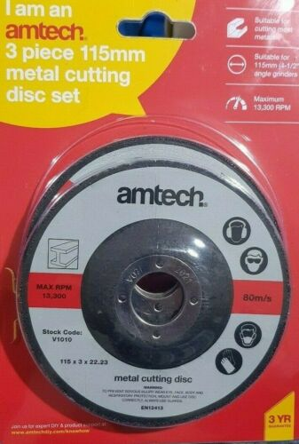 4 1//2/'/' Pack of 3 Piece Cutting Disc 115 x 3 x 22.23 mm, Amtech,Cutt Most Metal