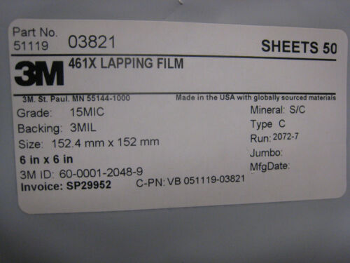 3M  461X  Lapping Film 6 Inch Square sheets 15 MICRON S//C  50 pcs 152mm  # 03821