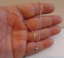 925 STERLING SILVER CROSS NECKLACE PENDANT W/ .25 CT LAB DIAMONDS/ 18'' LONG