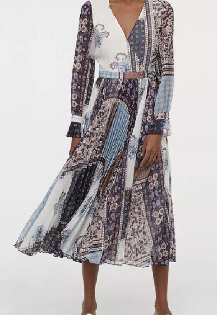 H&M Trend Conscious LIGHT Print Wrap Pleated Midi Dress EU40