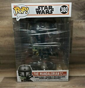 Funko-Pop-Star-Wars-Mandalorian-10-034-Chrome-Mandalorian-with-The-Child-380